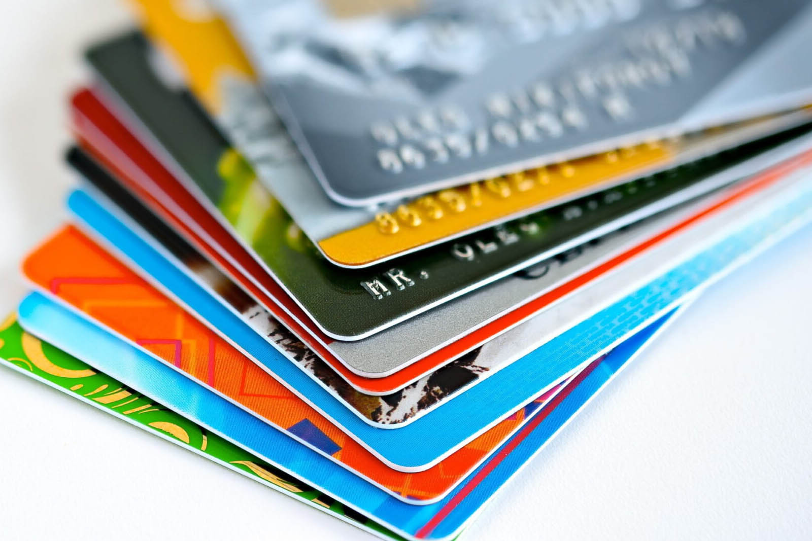 A picture of credit cards in a fan